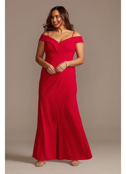 Off Shoulder Fold Seamed Plus Size Gown with - A crisp fold detail trims the off-the-shoulder neckline