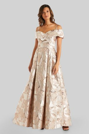 Long Ballgown Cap Sleeves Dress - Morgan and Co