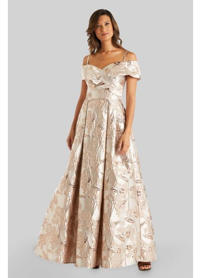 Metallic Off-the-Shoulder Portrait Ball Gown - An off-the-shoulder neckline, a portrait collar, and a