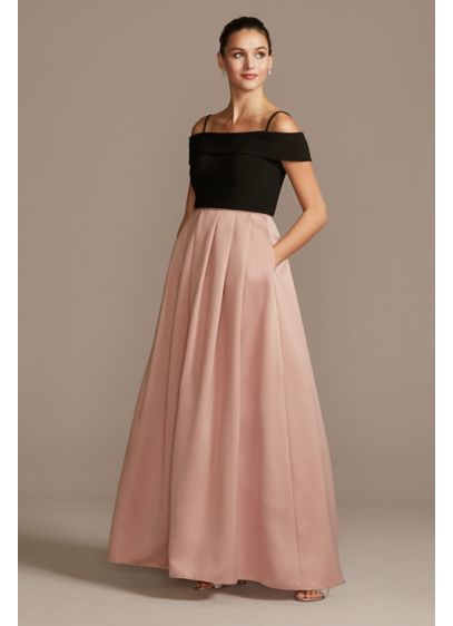 Off-the-Shoulder Gown with Pocketed Satin Skirt - Float across the room in this exquisite ball