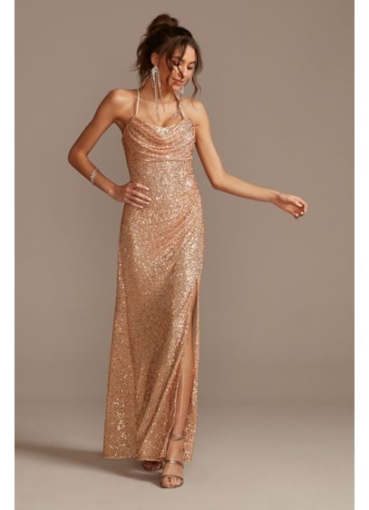 Metallic Cowl Neck Slip Dress with Ruching - Fabulous and flirty, this metallic slip dress amplifies