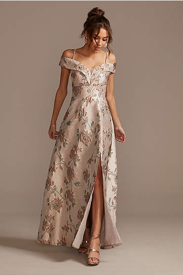 Brocade Off the Shoulder Ball Gown with Slit