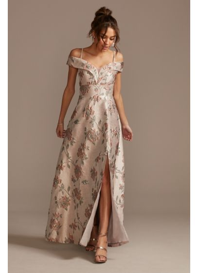 Brocade Off the Shoulder Ball Gown with Slit - Pretty and polished, this gown combines a luminous