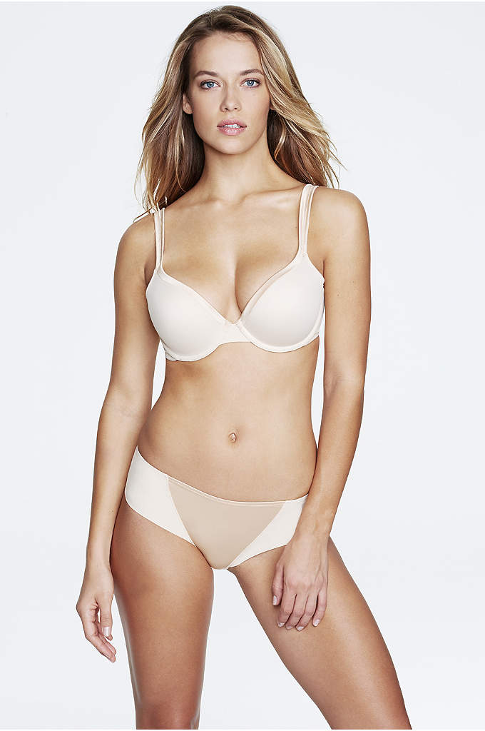 Dominique Corinne Everyday Seamless Pushup Bra - This deep-plunge push-up bra features smooth, seamless molded