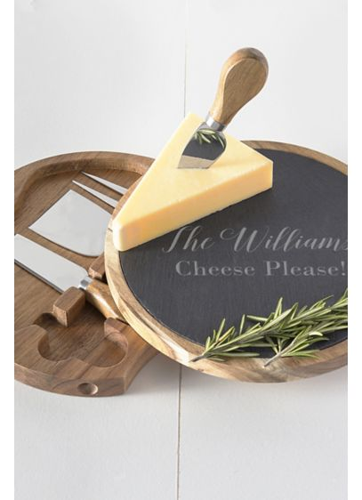 Personalized Slate and Acacia Cheese Board Set - Wedding Gifts & Decorations