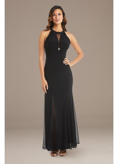 Mesh Overlay Halter Gown with Open Back - With an illusion plunge bodice finished with crystal