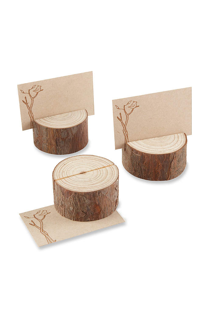 Rustic Wood Place Card Holder Set of 4 - These stunningly simple, real-wood Rustic Wood Place Card