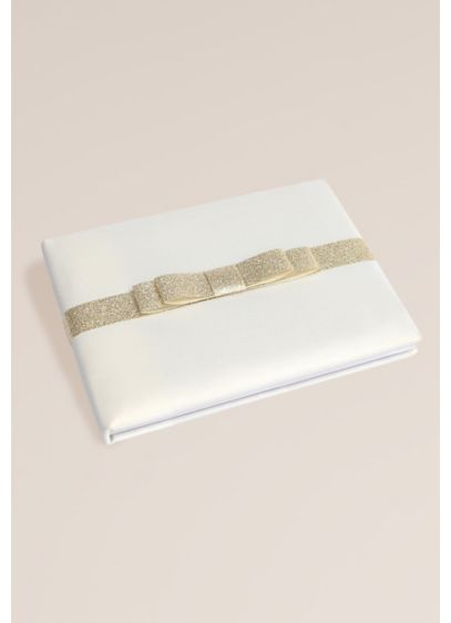 Gold Glitter Bow Guest Book - Wedding Gifts & Decorations