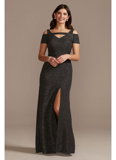 Glitter Short Sleeve Mermaid Dress with Cutouts - With its glittery fabric, cutout shoulders and yoke,