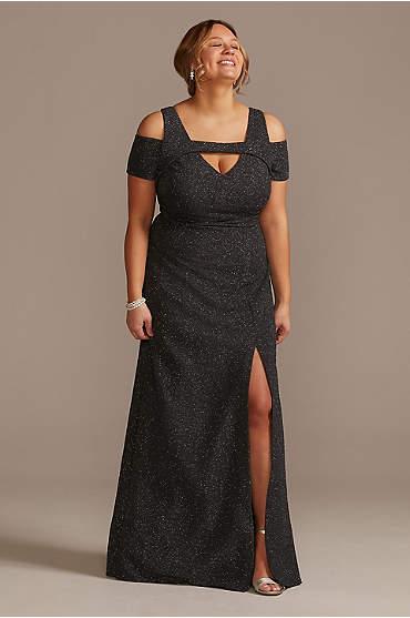 Glitter Short Sleeve Plus Size Dress with Cutouts
