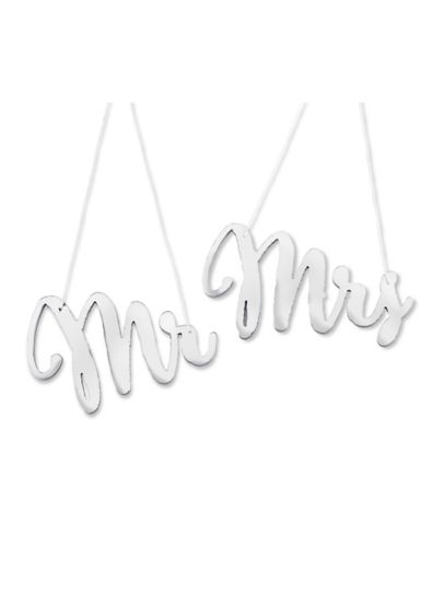 Silver Mirror Mr and Mrs Chair Signs - Wedding Gifts & Decorations