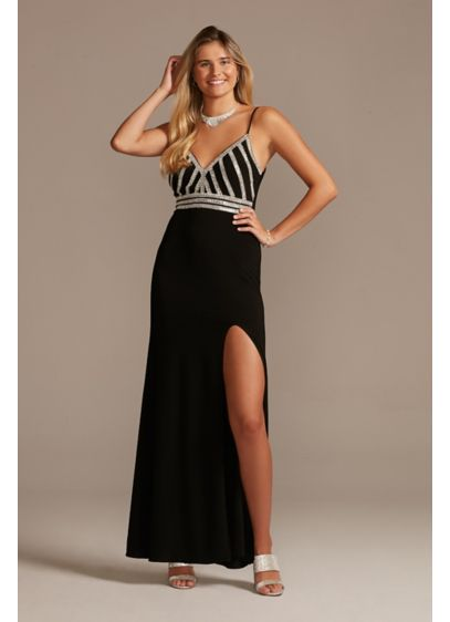 Long Sheath Spaghetti Strap Cocktail and Party Dress - Blondie Nites