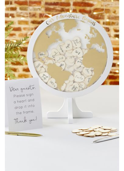 Globe Wedding Guest Book Alternative - Includes 100 wood hearts for signing and printed