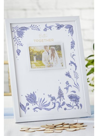 Blue Willow Wedding Guest Book Alternative - Includes 75 wood hearts for signing Glass, wood,
