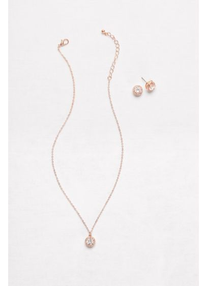 David's Bridal Pink (Raised Cubic Zirconia Necklace and Earring Set)