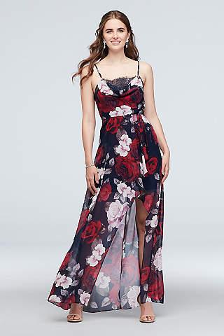 Vestido Floral Asimétrico Escote Columpio
