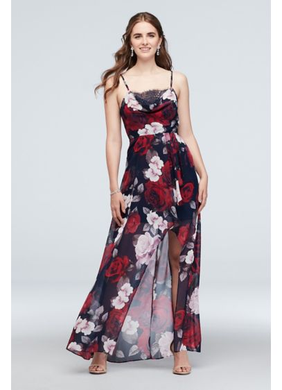 Cowl Neck Floral Hi-Low Spaghetti Strap Dress - Twirl to your heart's content in this floral-printed