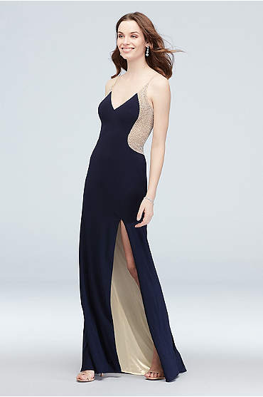 Deep-V Illusion Silhouette Crystal Gown with Slit