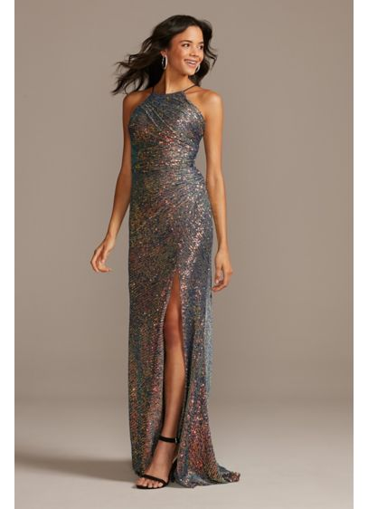 High Neck Side Ruched Sequin Dress with Slit - Channel your inner rockstar in this elegant-yet-edgy sheath