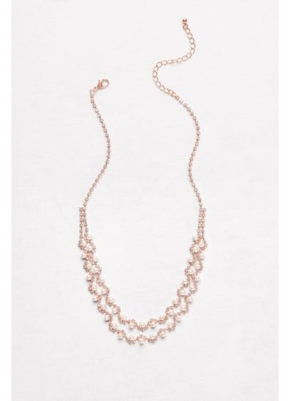 Pearl and Crystal Double-Strand Necklace - Wedding Accessories