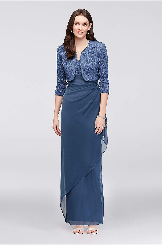 Glitter Jacquard Petite Sheath and Jacket - This sheath petite dress is a perfect way