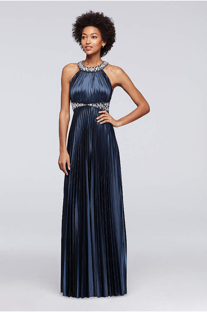 Beaded Strappy Back Halter Prom Dress with Pleats