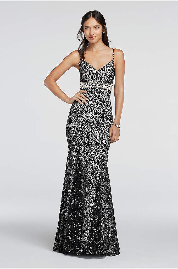 Spaghetti Strap Lace Prom Dress with Beaded Waist