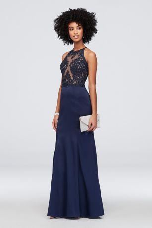 603d1535 Corded Lace Stretch Taffeta Mermaid Halter Dress | David's Bridal