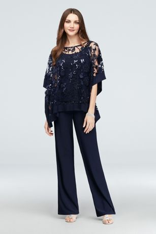 5ad80b196dee Sequin Lace Pantsuit with Sheer Poncho