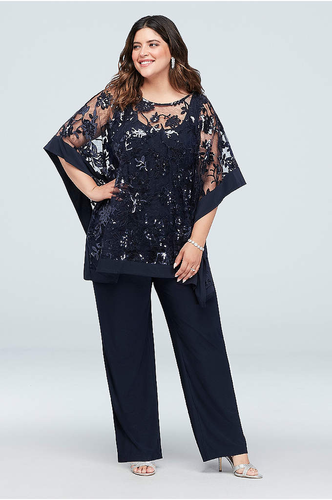 Sequin Lace Plus Size Pantsuit with Sheer Poncho - The pantsuit is a shortcut to elegance, particularly