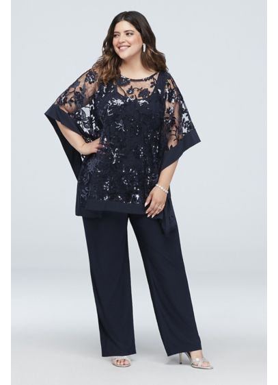 dea4b4109f9 Sequin Lace Plus Size Pantsuit with Sheer Poncho. 2288W. Long Jumpsuit  Capelet Cocktail and Party Dress - RM Richards