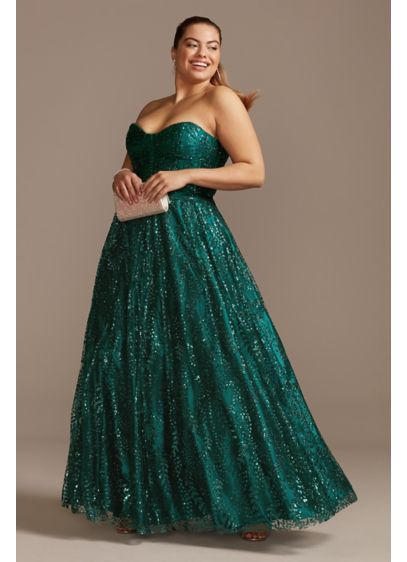 Corset Bodice Plus Size Gown with Glitter Overlay - A gauzy layer of glitter and sequins veils