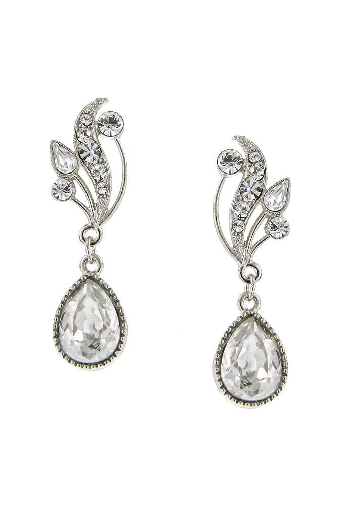 Swarovski Crystal Teardrop Vine Earrings - Vintage glam at it's best. This beautiful sparkling