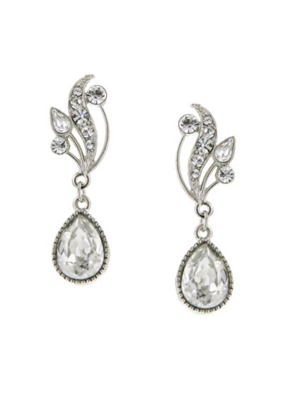 Swarovski Crystal Teardrop Vine Earrings - Wedding Accessories