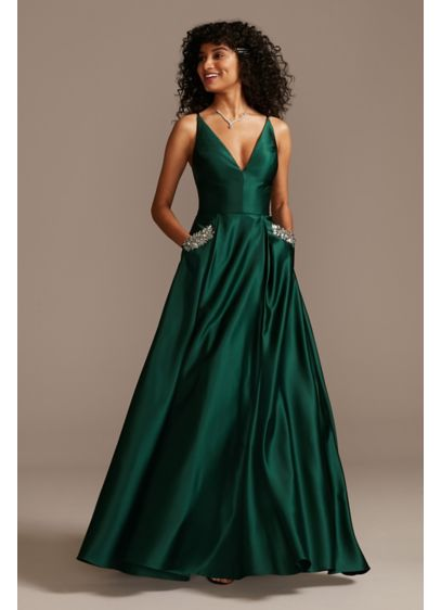 Plunging-V Gown with Crystal Embellished Pockets - An elegant satin ball gown with an edge,