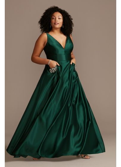 Plunging-V Plus Size Gown with Embellished Pockets - An elegant satin plus-size gown with an edge,