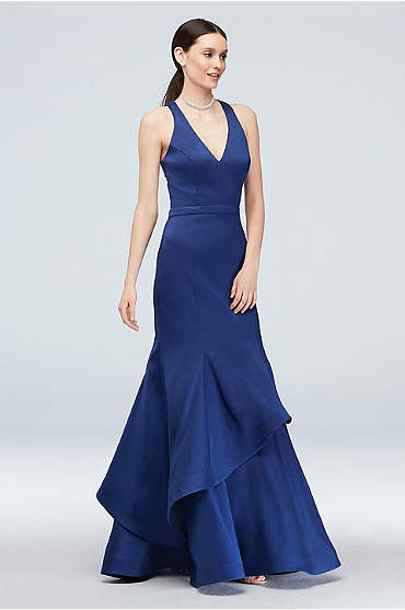 Cutout Racerback Mermaid Gown with Layered Skirt