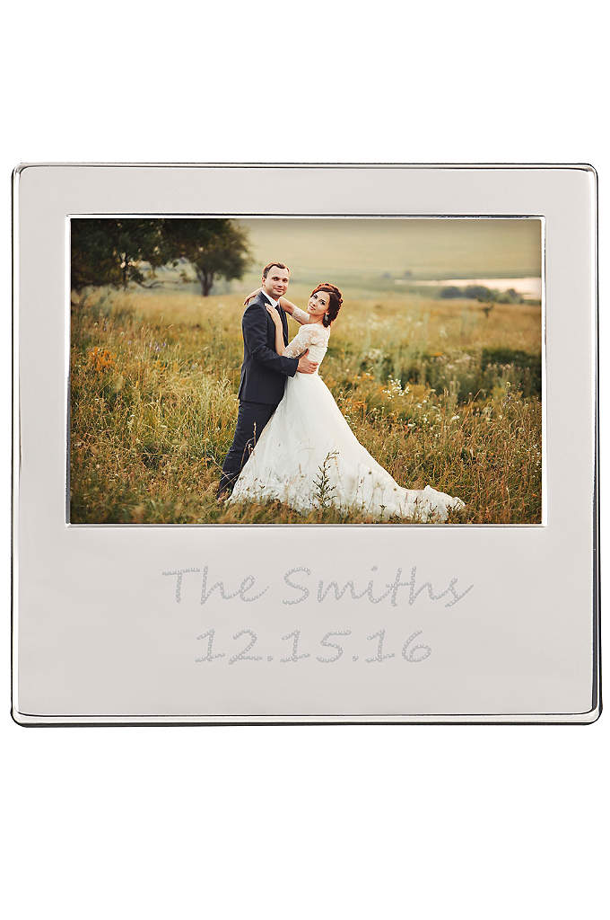 Personalized Engraved Silver Picture Frame - Display your favorite wedding photo with this gorgeous