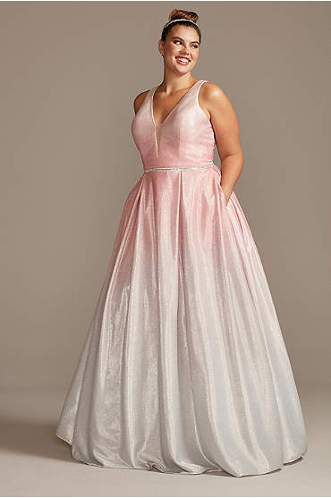 Glitter Ombre Deep-V Plus Size Gown with Crystals