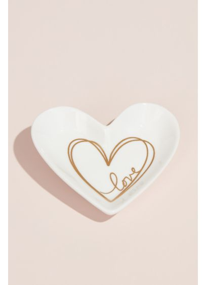 Gilded Love Ceramic Heart Ring and Trinket Dish - A gilded heart sketch, complete with