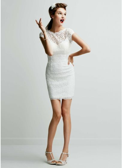 Short Lace Cap Sleeve Dress With Exposed Zipper David S Bridal