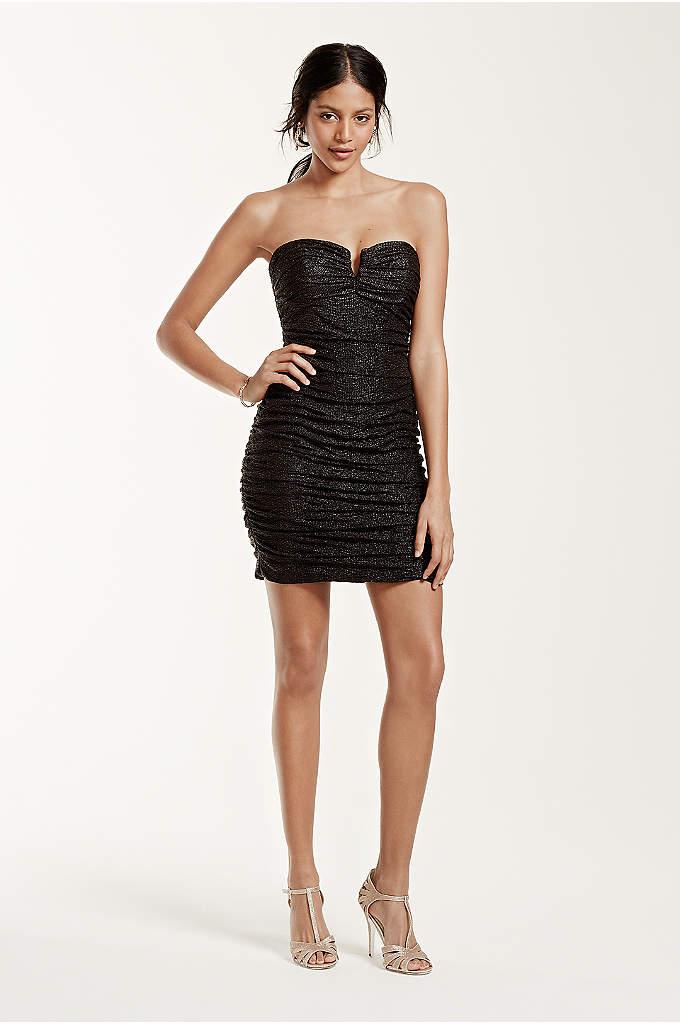 Strapless Short Ruched Foil V-Bar Dress