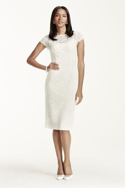 short sleeve lace knee length dress davids bridal