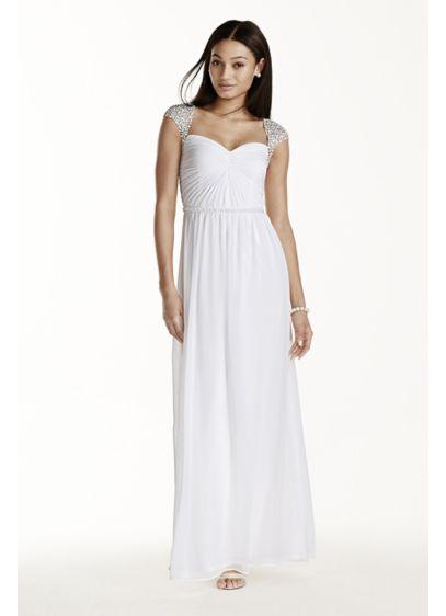 Beaded Cap Sleeve Chiffon A-line Dress | David\'s Bridal