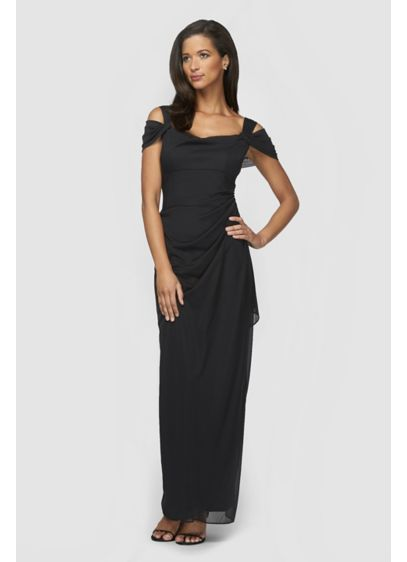 Long Ruched Mesh Cold-Shoulder Petite Sheath Dress - Slim, sleek, and stunning, this petite mesh sheath