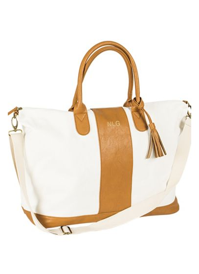 Personalized Striped Faux Leather Weekender Bag