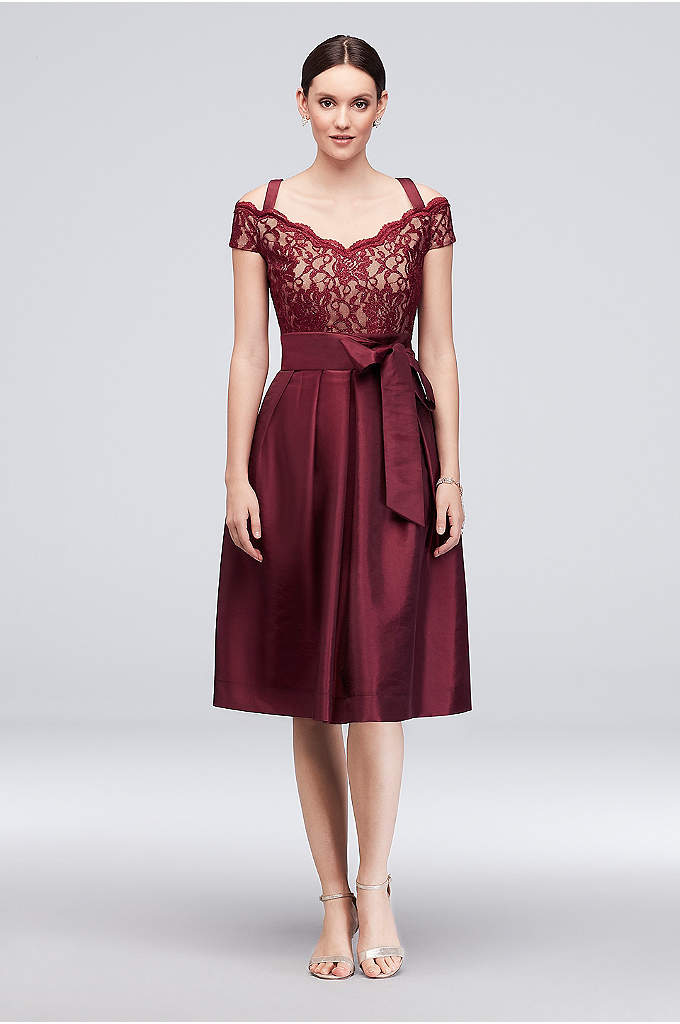 Off-the-Shoulder Short Taffeta A-Line Dress - Topped with an off-the-shoulder glitter lace bodice and