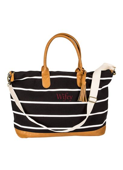 Black (Personalized Striped Canvas Weekender Bag)