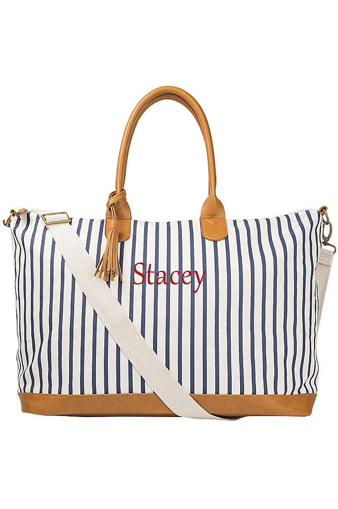 Personalized Striped Weekender Tote - The Personalized Striped Weekender Tote is perfect for