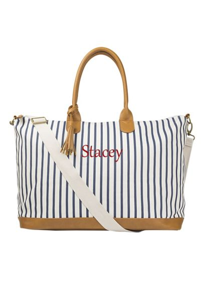 Personalized Striped Weekender Tote - Wedding Gifts & Decorations